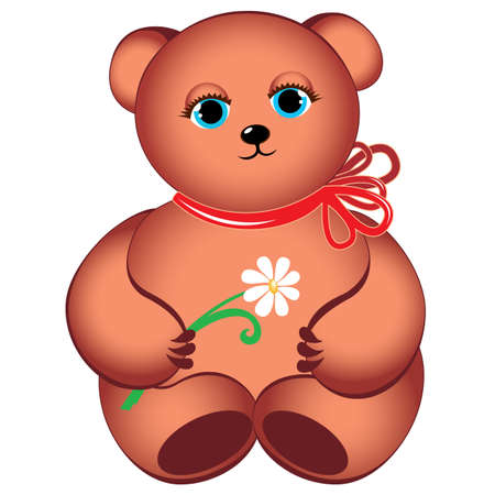 Little teddy bear with flower. Illustration on white background Vector