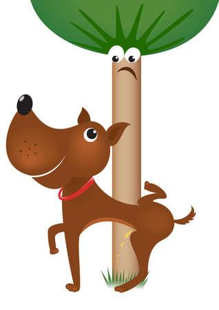 urinare: Dog urinare sull'albero. Illustrazione su sfondo bianco