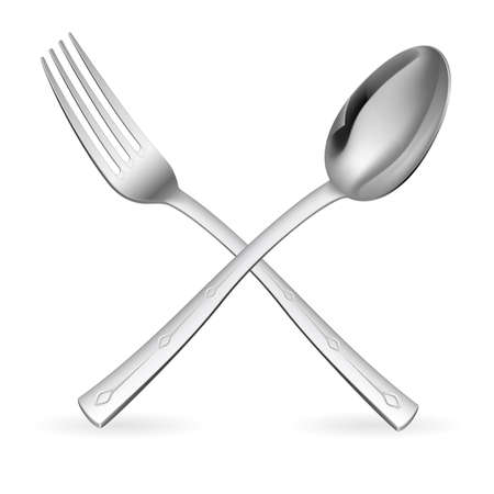 spoon: Crossed fork and spoon. Illustration on white background.