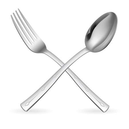 sked: Korsade gaffel och sked. Illustration på vit bakgrund.