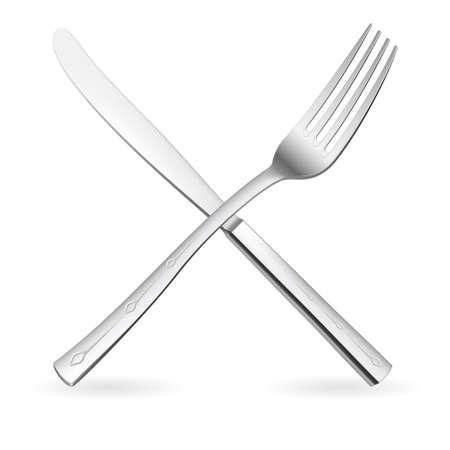 cuchillo de cocina: Cruz� tenedor y cuchillo. Ilustraci�n sobre fondo blanco.