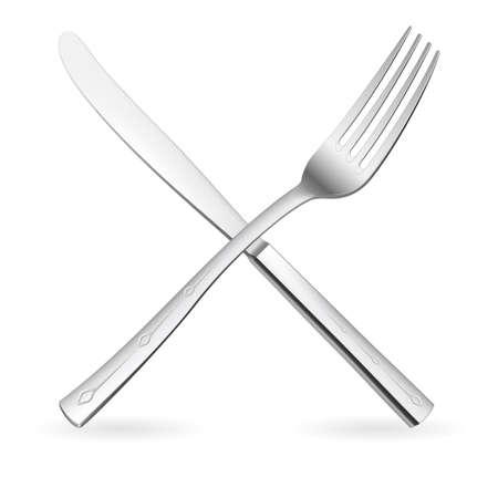 table knife: Incrociati forchetta e coltello. Illustrazione su sfondo bianco.
