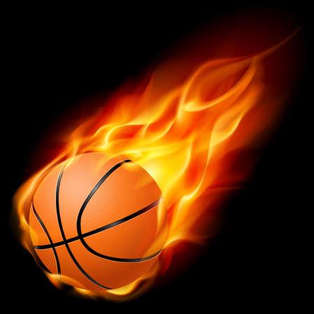košík: Létající basketbal v ohni. Ilustrace na černém pozadí