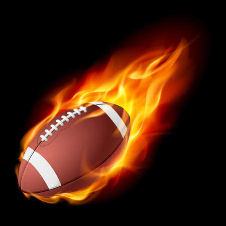 throwing ball: Realistic American football in the fire. Illustration on white background.