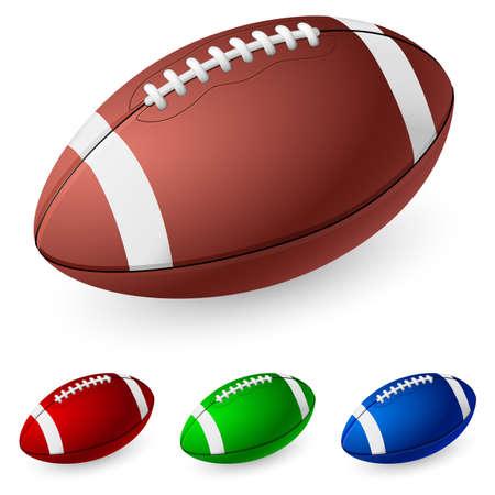football play: Football americano realistico. Illustrazione su sfondo bianco.  Vettoriali