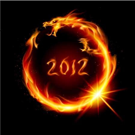 drago alato: Astratto drago rosso ardente. Illustrazione su sfondo nero per la progettazione.
