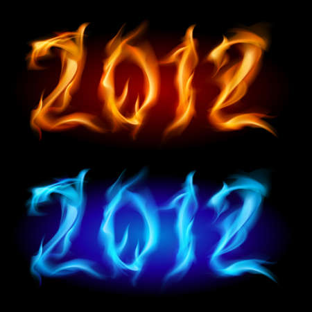 Fire year. Two colors. Illustration on white background for design. Vector