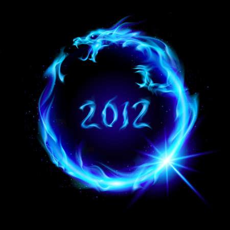 drago alato: Astratta drago blu fuoco. Illustrazione a sfondo nero per la progettazione.