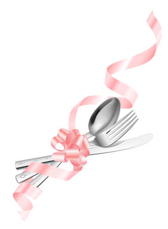Fork spoon and knife which has been tied up by a ribbon Vector