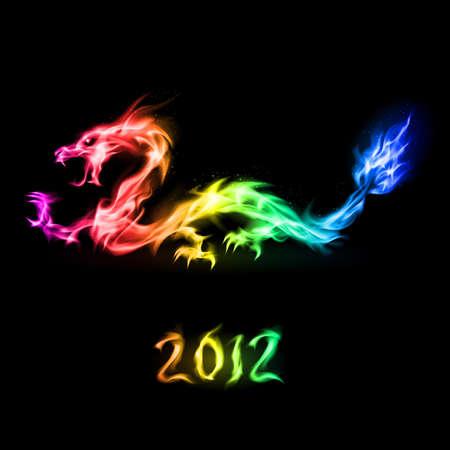 drago alato: Astratta drago arcobaleno di fuoco. Illustrazione a sfondo nero per la progettazione Vettoriali