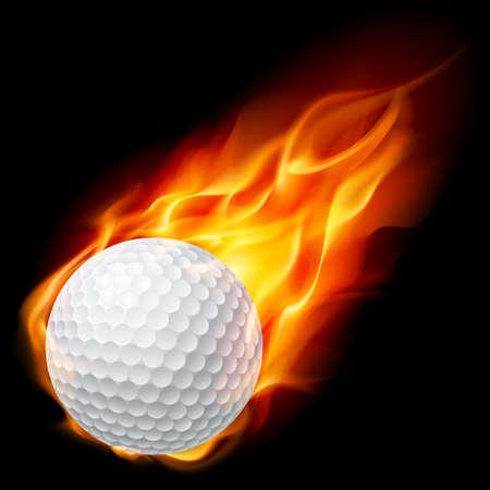 Golfbal in brand. Illustratie op zwarte achtergrond
