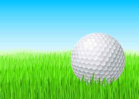 golf green: White golf ball in green grass on a blue sky.