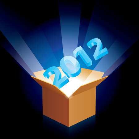 gift of hope: Open cardboard box twenty twelve with the new year emerging  Illustration