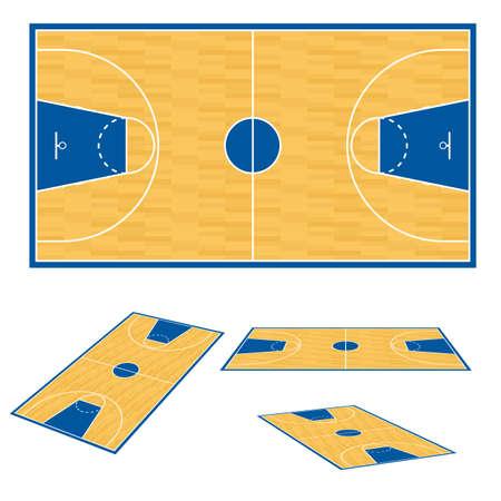 cancha de basquetbol: Cancha de baloncesto piso plan. Ilustración sobre fondo blanco.