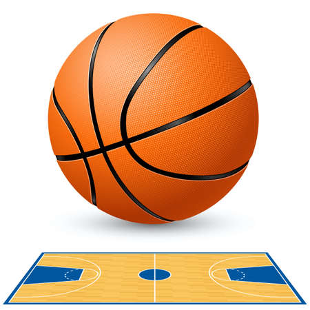 basketball game: Basketball and basketball court floor plan. Illustration on white background.