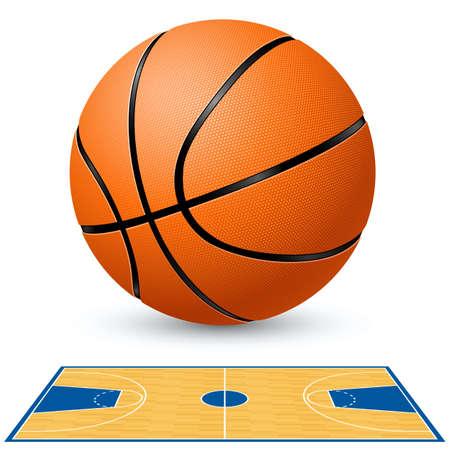 cancha de basquetbol: Plano de planta de corte de baloncesto y baloncesto. Ilustración sobre fondo blanco.