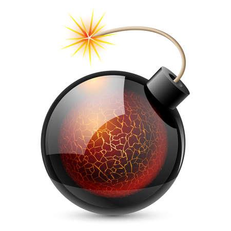 bomba a orologeria: Bomba cartone animato con il cuore. Illustrazione su sfondo bianco Vettoriali