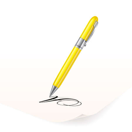 Vector image of yellow pen writing on paper Vector