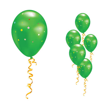 colored balloons: Green balloons with stars and ribbons. Vector illustration.