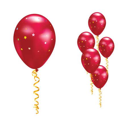 serpentinas: Globos de color rojo con las estrellas y cintas. Ilustración vectorial.