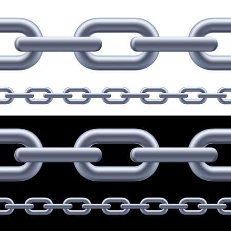 cadena rota: Cadena realista gris en el fondo blanco y negro. Ilustración para el diseñador