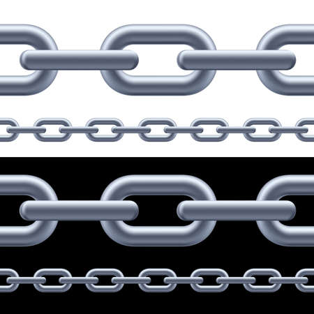 chain link: Realistic gray chain on the white and black background. Illustration for designer