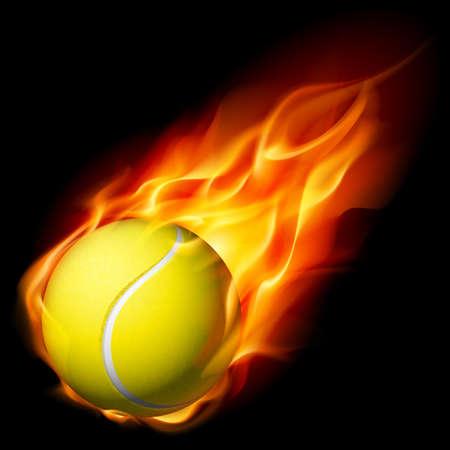tennis racket: Flaming pelota de tenis. Ilustración sobre fondo blanco para el diseño