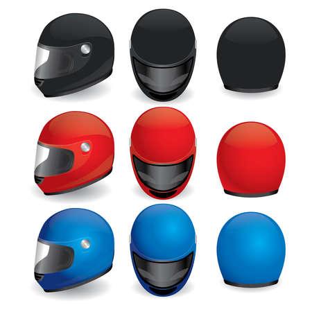 casco de moto: ilustraci�n de casco de moto. Negro, rojo y azul conjunto Vectores