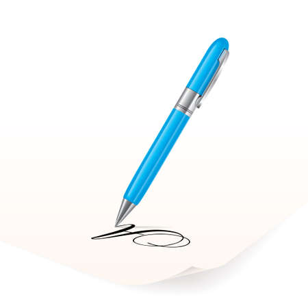 pen writing: image of azure pen writing on paper