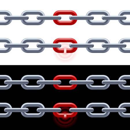 la union hace la fuerza: Cadena con el enlace de color rojo sobre fondo blanco y negro. Concepto: El liderazgo, la fuerza. Vectores