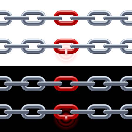 shackle: Chain with red link on white and black. Concept: Leadership, strength.