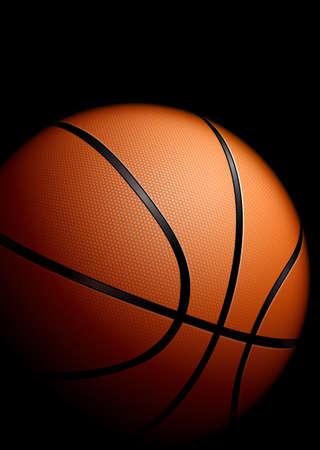panier basketball: Basket-ball d�taill�e �lev�. Illustration sur fond noir Banque d'images