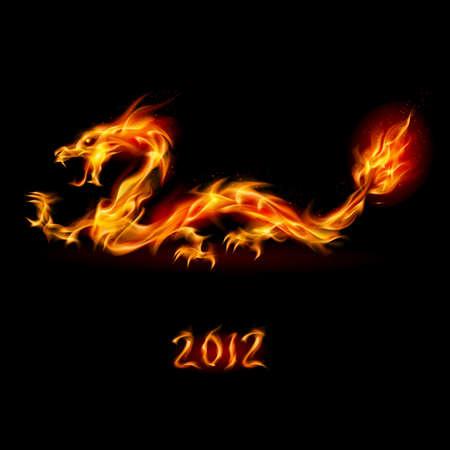drago alato: Riassunto drago di fuoco. Illustrazione su sfondo bianco per la progettazione