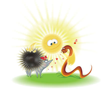 Nicer hedgehog and snake under the sun. Cartoon illustration. Stock Illustration - 10694443