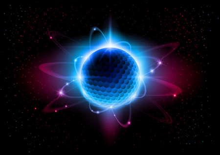 El núcleo central está rodeado por una nube de electrones cargados negativamente.