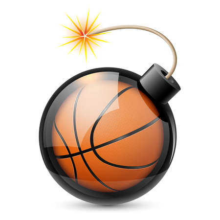 hoops: Abstract basketball shaped like a bomb. Illustration on white background for design  Illustration