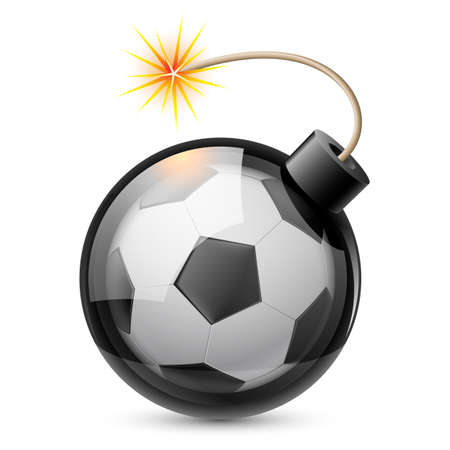Abstract football shaped like a bomb. Illustration on white background for design Vector