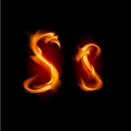 fiery font: Fiery Schriftart. Brief S. Illustration auf schwarzem Hintergrund