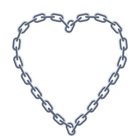 jewelry chain: Chain silver heart. Illustration on white background