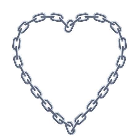 összekapcsol: Lánc ezüst szív. Illusztráció fehér alapon Illusztráció