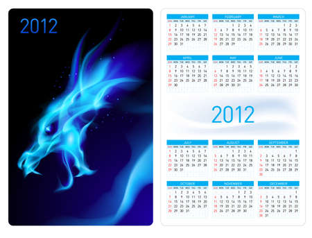 Calendar twenty twelve template. Blue Dragon. Illustration for design Vector