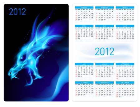 Calendar twenty twelve template. Blue Dragon. Illustration for design Stock Vector - 10719287