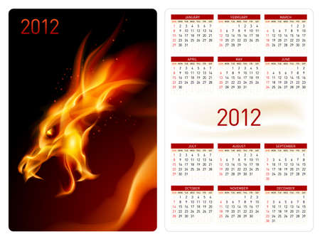 Calendar twenty twelve template. Red Dragon. Illustration for design Vector