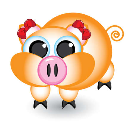 Cartoon pig with bows. Illustration on white background Vector