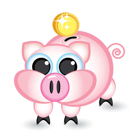 Piggy bank and money. Illustration on white background Vector