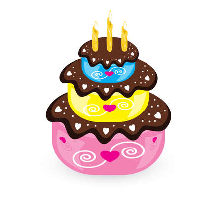 Birthday cake and candle. Illustration on white background  Vector