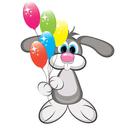 drawed: Cartoon rabbit with colorful balloons. Illustration on white background