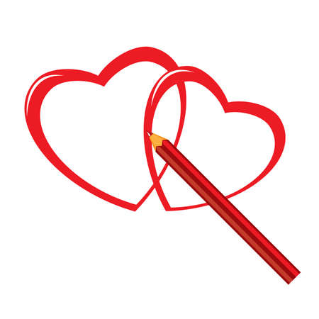 Red pencil and heart. Illustration on white background Vector