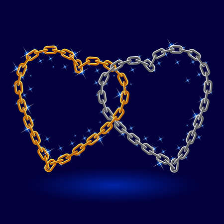 Chain silver and gold heart. Illustration on white background Vector