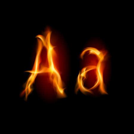 fiery font: Fiery Font. Buchstaben A. Abbildung auf schwarzem Hintergrund Illustration